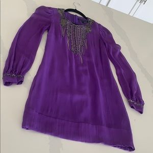 FRENCH CONNECTION silk beaded purple dress